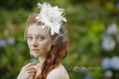 Sweet Bird Cage Veil with feathers and flower. Bridal Wedding hair. Hair by Bill Schrlau. ©MelaniLustPhotography
