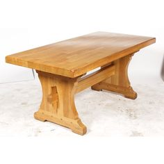 Monastery-style oak dining table featuring multi-plank top, and trestle legs with pegs and dowel construction. Farmhouse Style Dining Table, Oak Dining Table, Trestle Legs, Antique Tables, Hardwood Table, Plank, Vintage Antiques, Interior, Diy