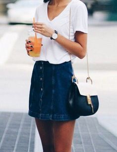 Super cute denim skirt that can be paired with thick tights or nude tights and over the knee boots this winter! Stay looking hot in the cooler months!   Fashion outfits ideas   Winter outfit inspiration