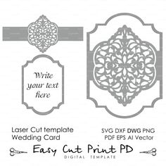 Wedding invitation Eastern Pattern Card Template Victorian mandala Lace (svg dxf ai eps png pdf) lasercut Instant Download Cameo Cricut