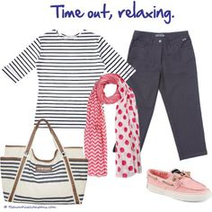 Breton top with navy cropped trousers, pink canvas sperry and large striped beach bag, time to relax #coastal #fashion