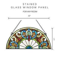 32d132634b27 River of Goods Victorian Corista Half-Moon Stained Glass Window Panel Window  Panels, Glass