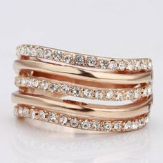 Wholesale Fashion Jewellery Women Rose Gold Color Rhinestone Crystal Ring Size 8  Lekani  This piece of jewelry is a thoughtful and versatile gift for a woman of any age. It is a great present for a birthday, anniversary, Mother's Day, Christmas, New Year or another significant event. You can wear it in the daily life or take part in the party with it. No matter it is day or night event, it is suitable only at $7.19