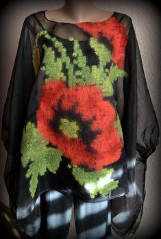 Wedding poppy blouse, silk blouse, felted blouse, clothing, blouse, women's blouse, women's clothing,art to wear Felt Purse, Beautiful Handbags, Silk Organza, Nuno Felting, Black Felt, Red Poppies, Felt Flowers, Wool Felt, Blouses For Women