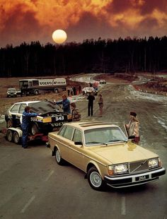 Volvo 264 GLE. and Volvo 343 DL on a Car-trailer.