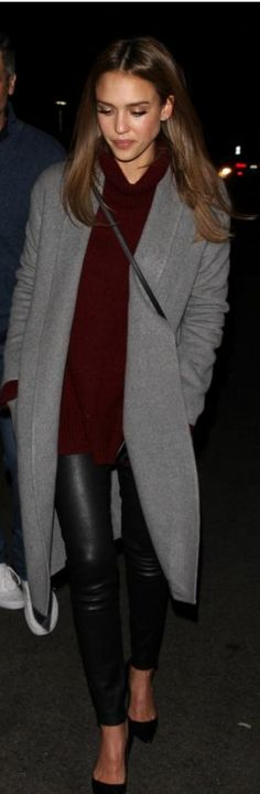 Who made  Jessica Alba's gray coat, handbag, and black leather pants?
