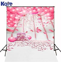 150X200CM Kate White Background Photo Studio Pink Balloon White Floor Pink Flowers Gift Box Happy Birthday Theme Background