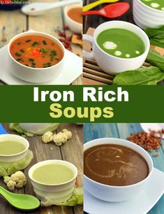 Iron rich soup recipes includes Rajma Soup, Lettuce and Cauliflower Soup, Lentil Tomato and Spinach Soup etc. We have made these recipes using iron rich ingredients and excluded those ingredients which might inhibit iron absorption in our body. Iron Rich Foods List, Foods With Iron, Foods High In Iron, Meals High In Iron, Recipes High In Iron, Iron Rich Recipes, Vegetarian Iron, Vegan Iron, Veg Soup Recipes