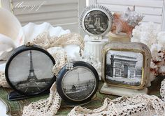 Repurpose use old broken clocks as picture frames.  recycle, upcycle, salvage, diy, repurpose!  For ideas and goods shop at Estate ReSale & ReDesign, Bonita Springs, FL