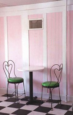 Seating inside is on old-fashioned ice cream parlor chairs at tiny tables. Iron Furniture, Furniture Redo, Painted Furniture, Ice Cream Decorations, Old Fashioned Ice Cream, Cream Candy, Vintage Ice Cream, Ice Cream Parlor, Striped Walls
