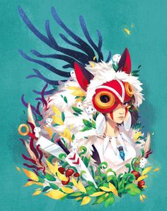 I love this girls work Princess Mononoke ghibli miyazaki print… Hayao Miyazaki, Mononoke Anime, Mononoke Cosplay, Totoro, Studio Ghibli Art, Studio Ghibli Movies, Film Anime, Anime Art, Anime Disney