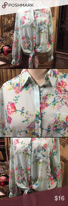 NWT beautiful Floral spring Hi/ lo top. What a lovely blouse. Spring flowers in a Hi/lo style. Front has pretty tie. Never worn. Perfect condition. 100% Poly. Violet & Claire Tops Blouses