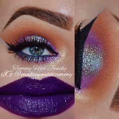Lavish eyeshadow palette... Orange Soda and Sienna in the crease. • @colourpopcosmetics Dare on the lid/lower lashline and @alexapersicocosmetics HD pigment called Galaxy in the middle of the lid/lower lashline. •Falsies: @opvlashes Stacked two sets of H-H006. •Glitter: @eyekandycosmetics Jellybean • @eyeko Eye Do Liquid Eyeliner in Carbon Black to line and wing out top lashline. • @smashboxcosmetics Limitless Eye Liner in Dark Denim on waterline. •Lip Recipe: •Lip Liners: @maccosmetics…
