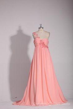 One Shoulder Floor-length Zipper Pink Empire Plus Size Formal Dresses