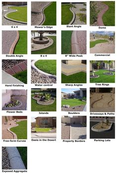 Concrete curbing, Landscape Curbing & Parking Lot Curbing beautifies the landscape designs and is an effective root barrier for sod and seeded grasses. Call Us for your landscape curbing needs. Landscape Edging Stone, Landscape Curbing, Landscape Borders, Landscape Art, Landscape Paintings, Landscape Designs, Garden Borders, Sidewalk Landscaping, Front Yard Landscaping