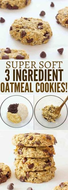 Ready under 20 minutes these healthy chewy and soft banana & oatmeal cookies are made with only 3 simple ingredients. They are a very simple and light version of the traditional oatmeal cookie with added dark chocolate chips. Banana Oatmeal Cookies, Oatmeal Cookie Recipes, Chocolate Chip Oatmeal, Chocolate Chips, Banana Oats, Raisin Cookies, Flourless Oatmeal Cookies, Oatmeal Dessert, Walnut Cookies