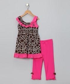 Take a look at this Pink Giraffe Tunic & Leggings - Toddler by Kids Headquarters on #zulily today!