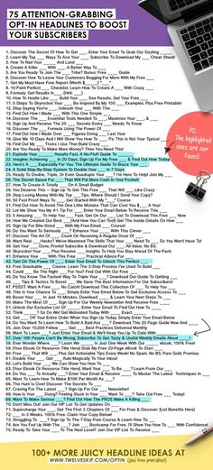 100+ Catchy Headline Templates For Your Optin To Generate More Email Subscribers >>> CLICK THE PIN to view more ideas + printable downloads!