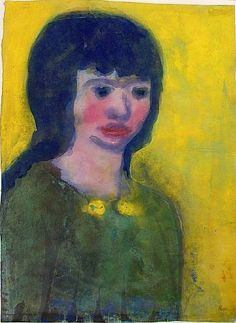 artnet Galleries: Portrait of a Young Woman with Dark Hair by Emil Nolde from Galerie St. Etienne