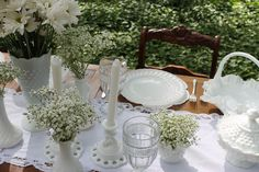 Springtime vintage wedding inspiration.... milk glass and babies breath!! rent from a huge collection of milk glass at southernvintagegeorgia.com