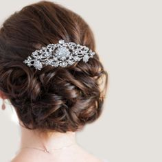 Bridal Bridesmaid Flower Fleur de Lis Hair Comb Swarovski Crystal Clear | eBay