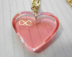 Beautiful Pink Infinity Heart Resin Pendant with Gold Chain