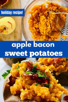 A perfect Thanksgiving or Christmas side dish recipe. These deliciously sweet and salty Apple and Bacon Stuffed Sweet Potatoes with Pomegranate are the ultimate comfort food. Simple to make baked sweet potatoes are overstuffed with shredded apple, cinnamon and crispy bacon then topped with a bright red pop of pomegranate arils and more bacon.