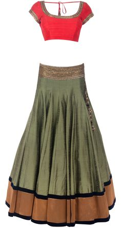 Olive green raw silk embroidered lehenga.