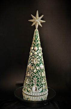 This Christmas tree is my absolute favorite. The pattern was invented by me. Star I made of an epoxy resin and decorated .Height is 16.5 inches 42cm (without pedestal). With pedestal 19.2 inches 49cm. For a secure connection, I bolted the star and pedestal. It absolutely sparkles in the light. The