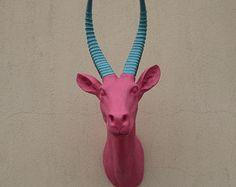 Pink/Turquoise horns Antelope Head wall hanger, Antelope head, wall mount, wall hanging, faux taxidermy, Animal, wall hanging, faux animal Antelope Horns, Faux Taxidermy, Beaded Purses, Pink Turquoise, Wall Hanger, Wall Mount, Kids, Handmade, Etsy