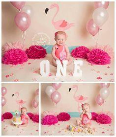 Pink flamingo 1st birthday