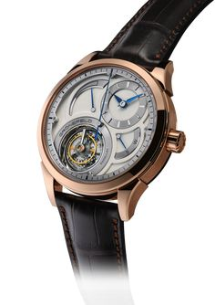 "The Grönefeld Parallax tourbillon features a ""flying"" tourbillon with a large central seconds hand, stop seconds, power reserve indicator and winding-setting function indicator. The in-house movement,"