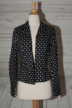Jones New York Size M Medium Womens Polka Dot Zippered Jacket Top Blouse Cotton   eBay