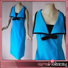 Vintage 1960s Amazing Turquoise Crimplene Sailor Scooter MOD Twiggy Dress UK14