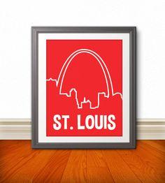 St. Louis, MIssouri Custom Color Skyline Print, St. Louis Art, St. Louis Print, St. Louis Sign, via Etsy.