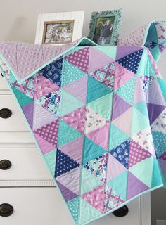 Lavender Blue Baby Quilt Quilting For Beginners Made Easy Quilting for beginners may be a a laugh ho Quilt Baby, Baby Girl Quilts, Girls Quilts, Baby Blanket Crochet, Baby Quilt For Girls, Crochet Baby, Quilted Baby Blanket, Owl Quilts, Cot Quilt