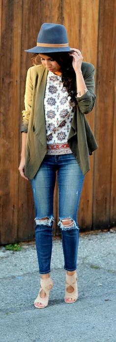 spring style: j brand jeans, janessa leone lucy hat, aquazzura lace up heels, and madewell top