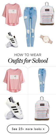 """school day"" by dzemila-852 on Polyvore featuring adidas, JanSport and ROSEFIELD"