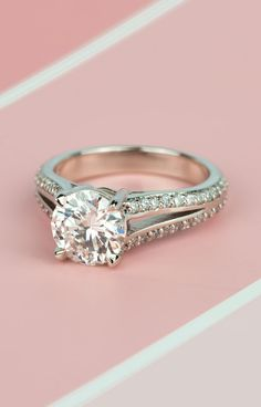 Pretty in Pink! Would you wear this sunning Vintage Split Shank Diamond Engagement Ring in White Gold?