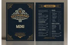 Restaurant Menu Layout with Ornamental Elements #menu #card #food #vintage #western #restaurant #bar #retro #template #ornaments Restaurant Menu Template, Menu Restaurant, Business Brochure, Business Card Logo, Western Restaurant, Menu Layout, Line Design, Journal Cards, Design Bundles