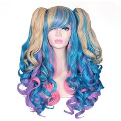 ColorGround Long Curly Lolita Cosplay Wig with 2 Ponytails(Mixed... ($24) ❤ liked on Polyvore featuring costumes, blue wig costume, blue costumes, cosplay costumes, cosplay halloween costumes and role play costumes