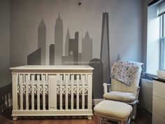 NYC Skyline Nursery Wall - love the varying shades of gray!