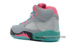 f7ceb398c5e6b8 New Style Girls Air Jordan 5 Gs Miami Vice Grey Teal-Pink