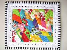 mug rug - I like the bright crazy patchwork and the striped binding Small Quilts, Mini Quilts, Quilting Projects, Sewing Projects, Mug Rug Patterns, Canvas Patterns, Quilt Patterns, Place Mats Quilted, Fabric Postcards