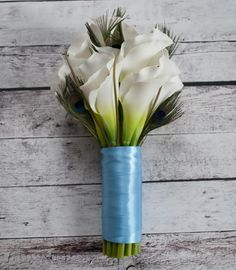 Calla lilies, peacock feathers, and Malibu blue satin wedding bouquet - real touch calla lilies!  A forever-bouquet by Kate Said Yes Weddings, www.katesaidyes.etsy.com