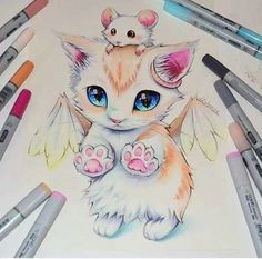 A kitten with wings and a mouse. Sooo cute and adorable.