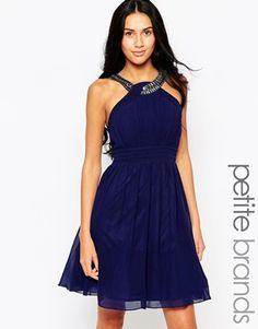 Little Mistress Petite Skater Dress With Embellished Straps