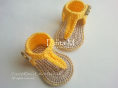 Uncinetto bambino Sandali, sandali gladiatore del bambino, scarpette per neonati, scarpe bambino, giallo e tan, regalo, foto prop, READY TO SHIP, taglia 3-6 mesi