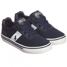 Boys Navy Blue Suede Leather Trainers