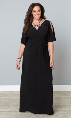 Go long with our plus size Coastal Cold Shoulder Dress. Peek-a-boo sleeves show a little skin